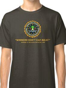 Winners Don't Eat Meat - Scott Pilgrim inspired Vegan Police Logo (transparent version) Classic T-Shirt