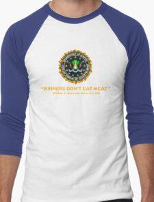 Winners Don't Eat Meat - Scott Pilgrim inspired Vegan Police Logo (transparent version) Men's Baseball ¾ T-Shirt