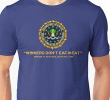 Winners Don't Eat Meat - Scott Pilgrim inspired Vegan Police Logo (transparent version) Unisex T-Shirt