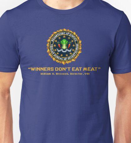 Winners Don't Eat Meat - Scott Pilgrim inspired Vegan Police Logo (transparent version) Unisex T-Shirt