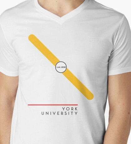 ¥ORK UNIVERSITY [white] Mens V-Neck T-Shirt