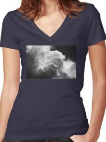 Black And white Sky With Building Puffy Storm Clouds Women's Fitted V-Neck T-Shirt