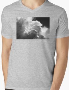 Black And white Sky With Building Puffy Storm Clouds Mens V-Neck T-Shirt