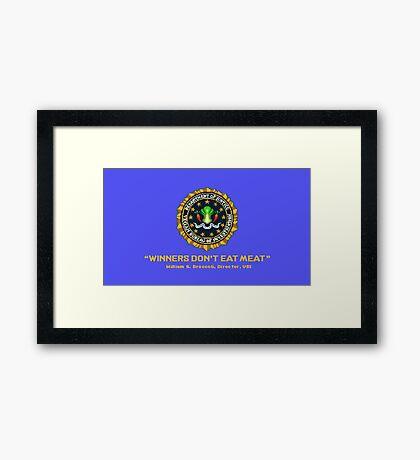 Winners Don't Eat Meat - Scott Pilgrim inspired Vegan Police Logo (blue screen version) Framed Print