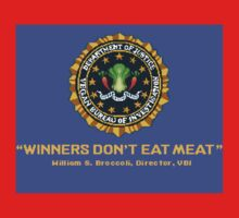 Winners Don't Eat Meat - Scott Pilgrim inspired Vegan Police Logo (blue screen version) Kids Clothes