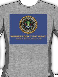 Winners Don't Eat Meat - Scott Pilgrim inspired Vegan Police Logo (blue screen version) T-Shirt