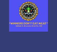 Winners Don't Eat Meat - Scott Pilgrim inspired Vegan Police Logo (blue screen version) Unisex T-Shirt