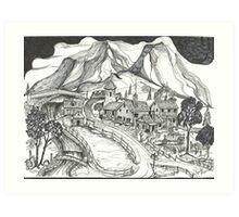 1880 Farm with Stream Art Print