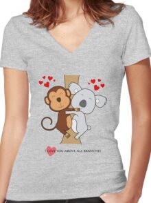 Koala-Monkey Love Women's Fitted V-Neck T-Shirt