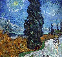 Road with Cypress and Star by Vincent van Gogh by Robert Partridge
