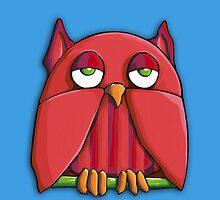 Red Owl aqua iPhone Case by Mariana Musa