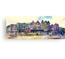 Nottingham panorama city watercolor Canvas Print