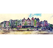 Nottingham panorama city watercolor Photographic Print