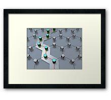 pathway through 3D-modeled interlinked nodes Framed Print
