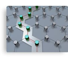 pathway through 3D-modeled interlinked nodes Canvas Print
