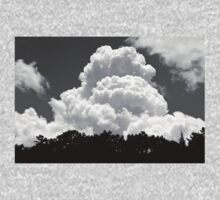 Black And white Sky With Building Thunderhead Storm Clouds One Piece - Short Sleeve