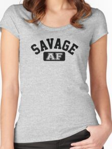 SAVAGE - AF (Black) Women's Fitted Scoop T-Shirt