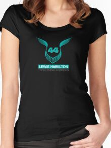 Lewis Hamilton Triple World Champion (teal) Women's Fitted Scoop T-Shirt