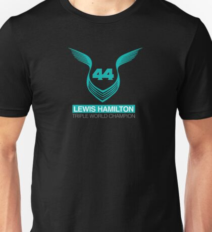 Lewis Hamilton Triple World Champion (teal) Unisex T-Shirt
