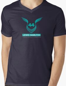 Lewis Hamilton Triple World Champion (teal) Mens V-Neck T-Shirt