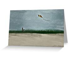 Boy Flying Kite at Dusk Greeting Card