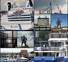 Port of Tyne Nautical Collage by Kathryn Jones