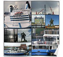 Port of Tyne Nautical Collage Poster