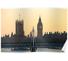 Golden view of Houses of Parliament Poster