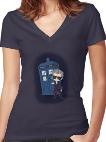Twelfth Doctor ; Rock'n'Roll Women's Fitted V-Neck T-Shirt