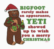 Funny Christmas Bigfoot Yeti Pun Cartoon Baby Tee