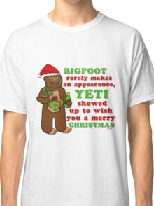 Funny Christmas Bigfoot Yeti Pun Cartoon Classic T-Shirt