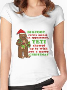 Funny Christmas Bigfoot Yeti Pun Cartoon Women's Fitted Scoop T-Shirt