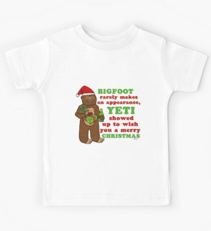 Funny Christmas Bigfoot Yeti Pun Cartoon Kids Tee