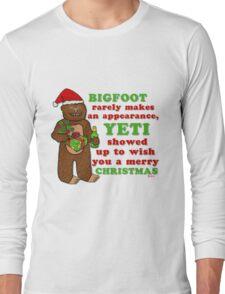 Funny Christmas Bigfoot Yeti Pun Cartoon Long Sleeve T-Shirt