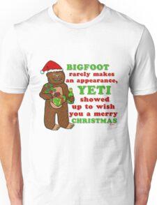Funny Christmas Bigfoot Yeti Pun Cartoon Unisex T-Shirt