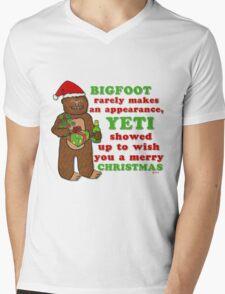 Funny Christmas Bigfoot Yeti Pun Cartoon Mens V-Neck T-Shirt
