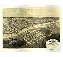 Panoramic Maps Bird's eye view of Bay City Portsmouth Wenona Salzburg Bay Co Michigan 1867 Poster