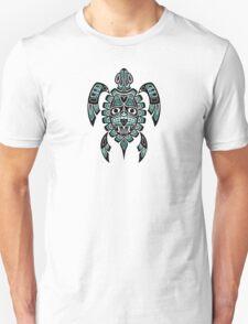 Teal Blue and Black Haida Spirit Sea Turtle T-Shirt