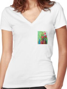 Antique Bottles and Flowers Women's Fitted V-Neck T-Shirt