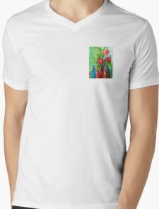Antique Bottles and Flowers Mens V-Neck T-Shirt