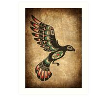 Red and Green Haida Spirit Flying Bird Art Print