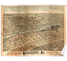 Panoramic Maps Birds-eye view of the Bethlehems Pa Poster
