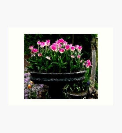 Pink Tulips in Fractalius Art Print