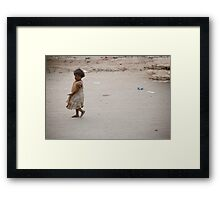 Child On The Road Framed Print