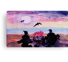 Gathering by the fire on beach, watercolor Canvas Print
