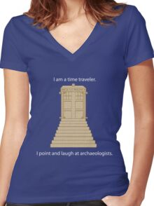 Time Travel (white) Women's Fitted V-Neck T-Shirt
