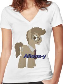 10th Doctor Whooves Women's Fitted V-Neck T-Shirt