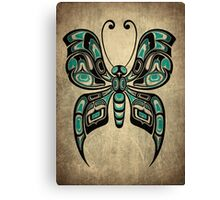 Teal Blue and Black Haida Spirit Butterfly Canvas Print
