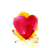 Watercolor  red heart by Olga Matskevich