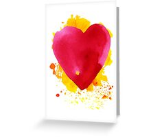 Watercolor  red heart Greeting Card